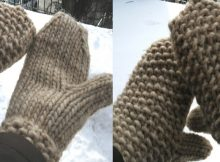 Burly knitted textured mitts   the knitting space
