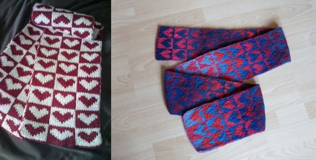 double heart knitted scarf | the knitting space