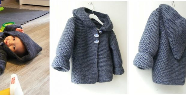 Knitting Pattern Hooded Jacket Toddler : Hooded Knitted Baby Jacket [FREE Knitting Pattern]