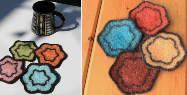 Java knitted flower coasters | the knitting space