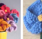 Simple knitted pinwheel flowers | The Knitting Space