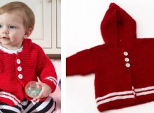 Cute knitted buttoned baby hoodie | The Knitting Space