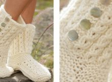 Cloud walks knitted cabled slippers | The Knitting Space
