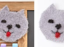 Sweet kitty face knitted scrubby | The Knitting Space