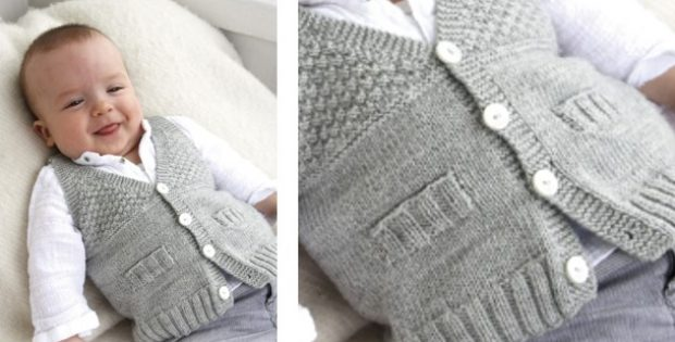 stylish junior knitted baby vest | The Knitting Space