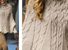 elegant knitted cabled poncho | The Knitting Space