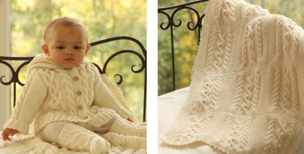 matheo knitted cabled baby set | The Knitting Space