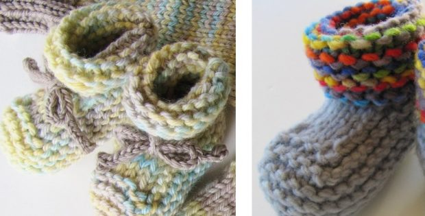 rolled cuff knitted baby booties | The Knitting Space