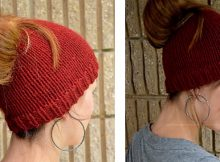 Holey knitted ponytail beanie   The Knitting Space