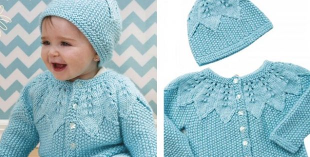 Star lace knitted baby set | The Knitting Space
