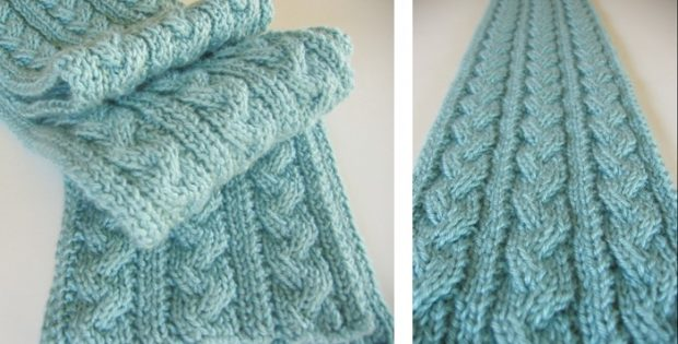 Reversible braid cable knitted hiking scarf | The Knitting Space