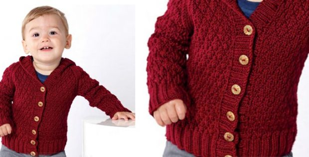 Textured knitted baby hoodie | The Knitting Space