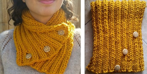 Knitted rib stitch scarf | The Knitting Space