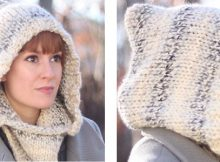 Winter wine knitted hooded cowl | The Knitting Space