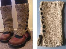 Knitted buttoned spatwarmers | The Knitting Space