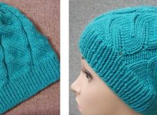 Stylish azure knitted cable hat | The Knitting Space