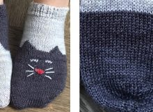 Yinyang knitted kitty ankle socks | The Knitting Space