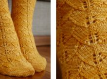 Toe up knitted ginkgo lace socks | The Knitting Space