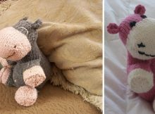 knitted sock hippo soft toy | the knitting space