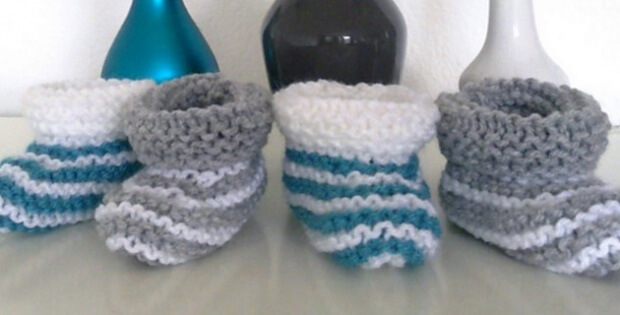 knit striped baby booties | the knitting space