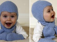 aviator knitted hat with matching scarf and mittens | the knitting pattern