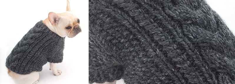 Knitted Cabled Dog Cardigan [FREE Knitting Pattern]
