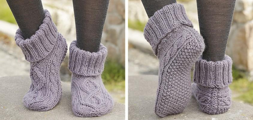 Celtic Dancer Knitted Cable Slippers [FREE Pattern]