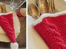 Christmas knitted cutlery holder | the knitting space