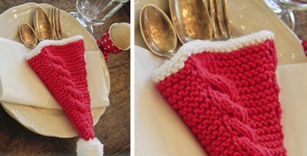Knitting Pattern For Christmas Stocking Cutlery Holder : Christmas Knitted Cutlery Holder [FREE Knitting Pattern]