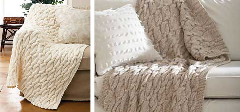 Chunky Cable Knit Blanket Pattern : Chunky Knitted Cable Blanket [FREE Knitting Pattern]