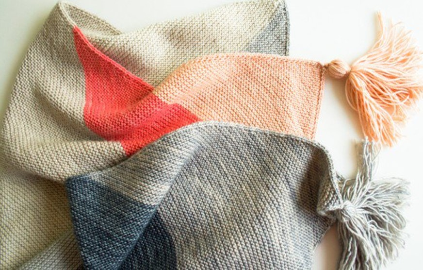 Knitting On The Bias Patterns : Knitted colorblock bias blanket free knitting pattern