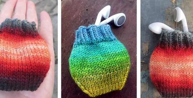 fun knitted earbud pouch | the knitting space