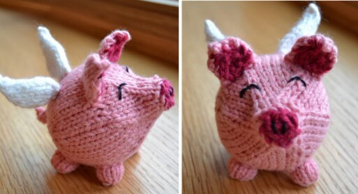 knitted flying pig | the knitting space
