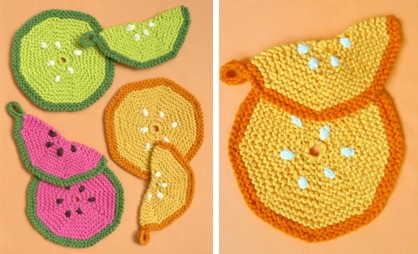 knit fruity pot holders | the knitting space