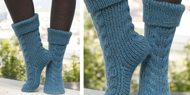 Free Knitting Pattern For Slipper Socks : Heavenly Stairway Knitted Slipper Socks [FREE Knitting Pattern]