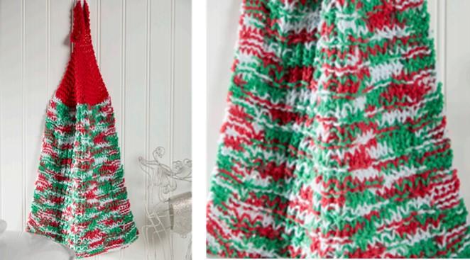 Holiday Knitted Dish Towel Free Knitting Pattern