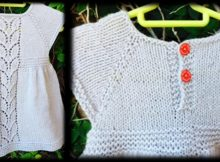 leaf love knitted baby dress   the knitting space