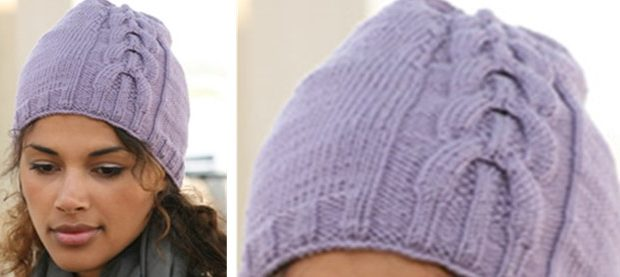 lilac delight knitted cable hat | the knitting space