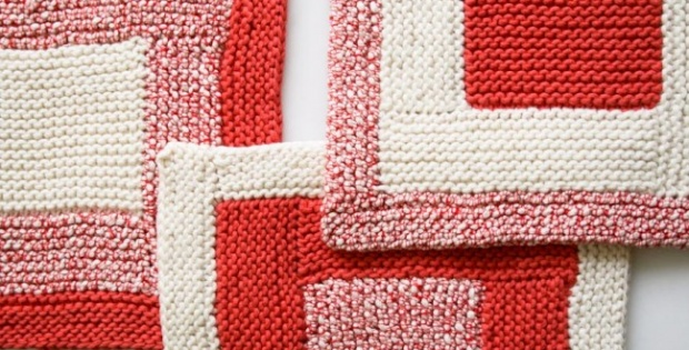 knit log cabin washcloths | the knitting space