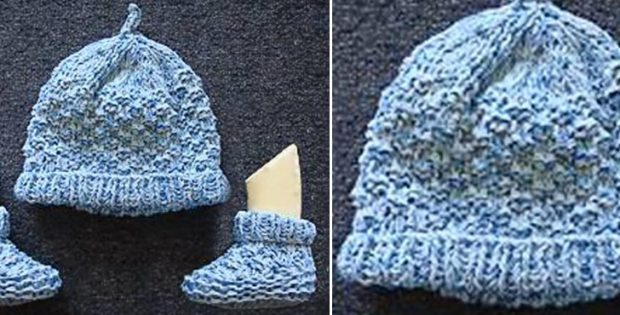 Knitted Top Knot Baby Hat And Booties [FREE Knitting Pattern]
