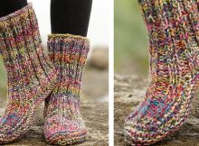 ribbed confetti knitted slippers | the knitting space