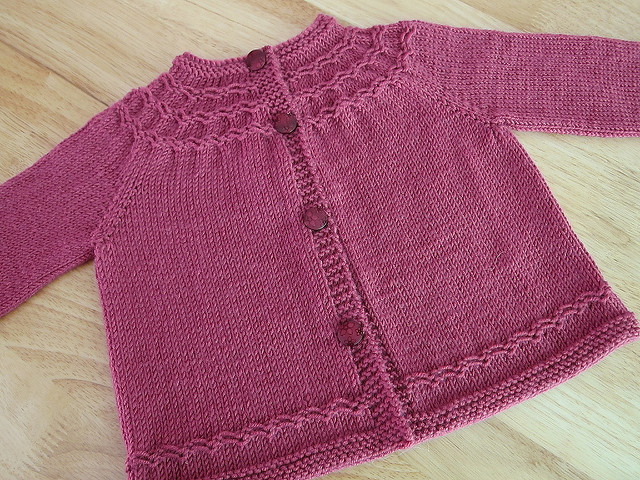 Seamless Knitted Yoked Baby Sweater [FREE Knitting Pattern]