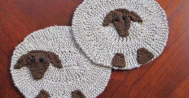 fun sheep knitted coaster set | the knitting space