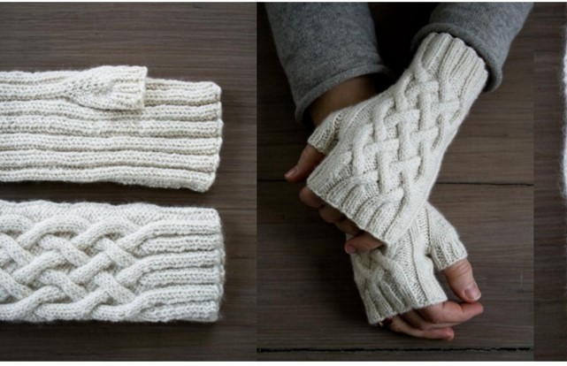 Free Knitting Pattern For Cabled Fingerless Gloves : Knitted Traveling Cable Fingerless Gloves [FREE Pattern]