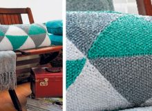 triangles knitted bolster cushion | the knitting space