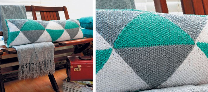 Triangles Knitted Bolster Cushion [FREE Knitting Pattern]