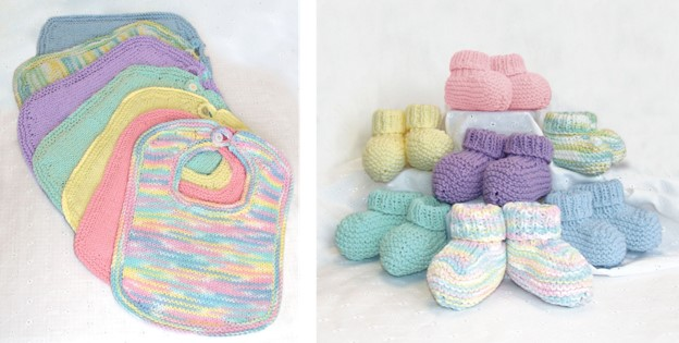 Knitted Baby Bibs And Booties Free Knitting Pattern