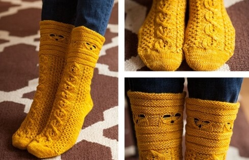 Busy Bees Knitted Cabled Socks Free Knitting Pattern