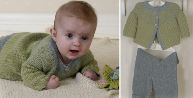 Alpaca Knitted Baby Set Of Jacket And Pants Free Knitting Pattern