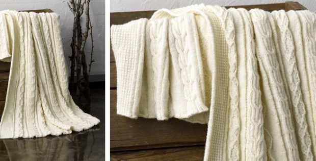 Aran Knitted Country Throw Free Knitting Pattern